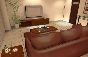 重厚感のある家具と、明るいタイル張りの床のコーディネート