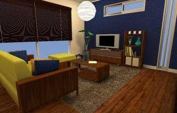 ネイビーの壁紙がワンポイントの、和モダンスタイルのお部屋