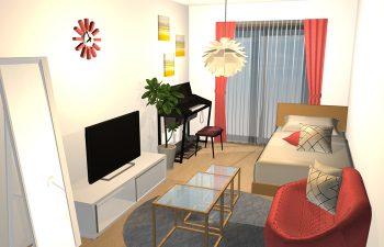 赤色をテーマカラーにしたセカンドハウスの部屋